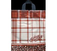 Пакет пет. 38*42 Кофе в клетку 1/50/500 ПВД 85 мкм