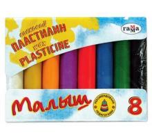 Пластилин  8цв. Малыш ВОСКОВОЙ 1/32 акция